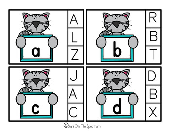 Alphabet Match Clip Cards Cute Cat