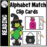 Alphabet Match Clip Cards (Halloween Witch Theme)