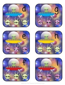 Alphabet Match Clip Cards with Aliens