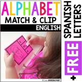 Alphabet Match & Clip {English plus Free Spanish Letters}
