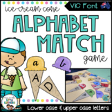 Victorian Modern Cursive Alphabet Match Game (Ice Cream Cones)