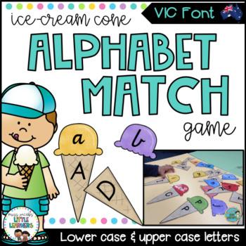 Victorian Modern Cursive Alphabet Match Game (Ice Cream Cones)