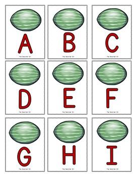 Sp. Education - Kindergarten- Alphabet Game - Recognition & Match - Watermelon