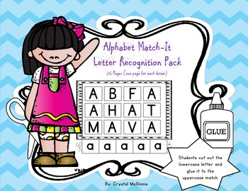 Alphabet Match Letter Recognition Pack-26 Pages (RTI, Literacy Center)