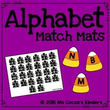 Alphabet Match Mats - Halloween Haunted House