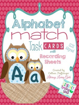 Alphabet Match Task Cards with Recording Sheets