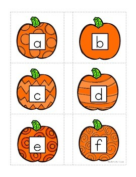 Alphabet Match Up Cards Lowercase to Uppercase {PUMPKIN}