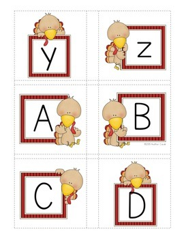 Alphabet Match Up Cards Lowercase to Uppercase {TURKEY}