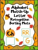 Alphabet Match-Up:  Fall Letter Recognition Sorting Mats for Spanish Alphabet