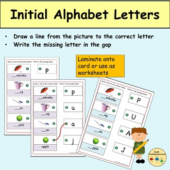 Alphabet: Match and Write Beginning Upper Case and Lower Letters to Pictures