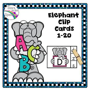 Alphabet Matching Clip Cards Elephant