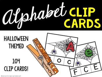 Alphabet Matching Clip Cards - Halloween / Spider Version