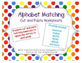 Making Words with Alphabet Matching Cut and Paste Worksheets