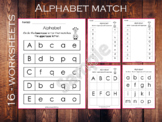 Alphabet Matching, Kindergarten Worksheets, Uppercase and