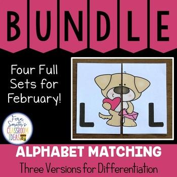 Alphabet Matching Literacy Center for Uppercase & Lowercase February Bundle