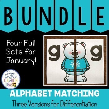 Alphabet Matching Literacy Center for Uppercase & Lowercase January Bundle