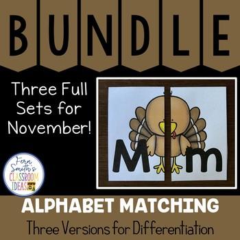 Alphabet Matching Literacy Center for Uppercase & Lowercase November Bundle