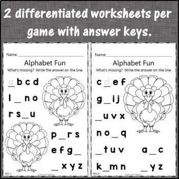 Alphabet Matching, Sequence, Missing Letters {Interactive Games} Build a Turkey
