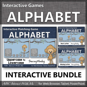 Alphabet Matching, Sequence, Missing Letters Interactive Games {Dancing Monkey}