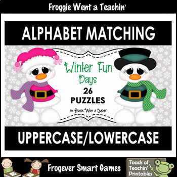 """Alphabet -- Matching Uppercase/Lowercase Letters Puzzles -- """"Fun Winter Days"""""""