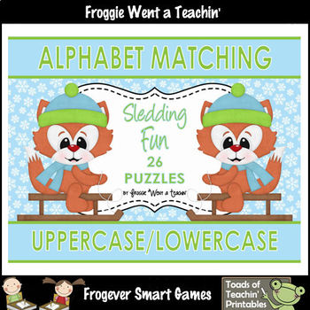 """Alphabet -- Matching Uppercase/Lowercase Letters Puzzles -- """"Sledding Fun"""""""