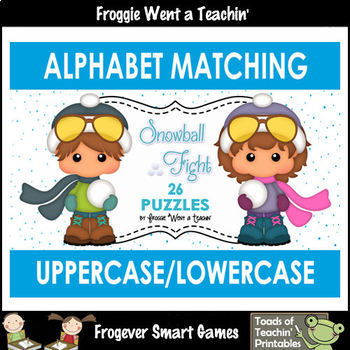 """Alphabet -- Matching Uppercase/Lowercase Letters Puzzles -- """"Snowball Fight"""""""