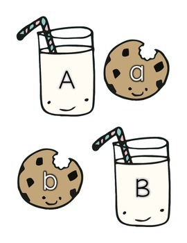 Alphabet Matching With Milk And Cookies {Capital and Lowercase Letters}