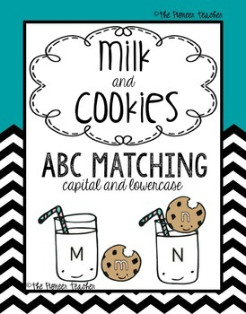 Alphabet Matching With Milk And Cookies {Capital and Lower