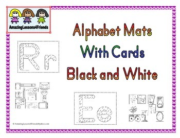 Alphabet Mats With Cards Black and White