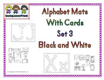 Alphabet Mats With cards Set 3 BW