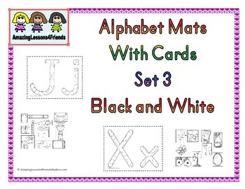 Alphabet Mats With cards Set 3 BW