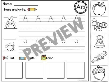 Beginning Sound Worksheets and Pocket Chart Activities