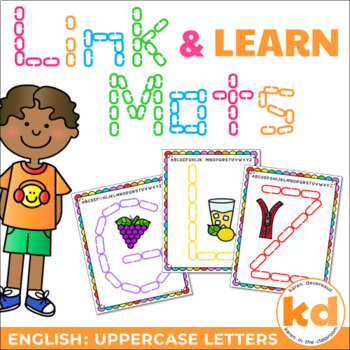 Alphabet Mats for Links - ENGLISH Uppercase (Playdough Alternative) Link & Learn