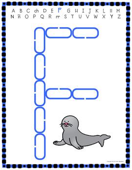 Alphabet Mats for Links - SPANISH Uppercase (Playdough Alternative) Link & Learn