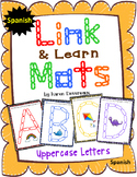 Alphabet Mats for Links - SPANISH Uppercase (Playdough Alternative) Link & Learn