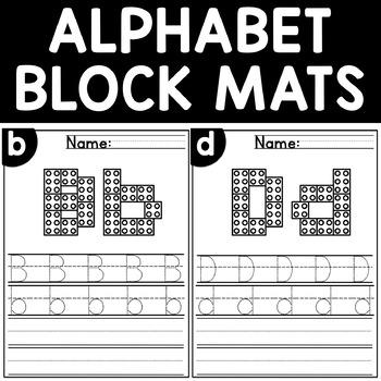 Alphabet Mats Fine Motor Skill Activity Building Blocks