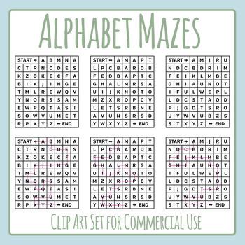 Alphabet Maze Clip Art Set for Commercial Use