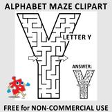 Alphabet Maze Clipart, Letter Y, FREE, Non-Commercial