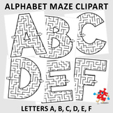 Alphabet Maze Clipart, Letters A, B, C, D, E, F, Commercial Use Allowed