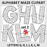 Alphabet Maze Clipart, Letters G, H, I, J, K, L, M, Commercial Use Allowed