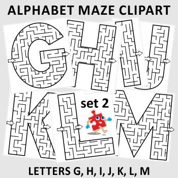 Alphabet Maze Clipart, Letters G, H, I, J, K, L, M, Commercial Use Allowed