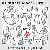 Alphabet Maze Clipart, Letters G, H, I, J, K, L, M, Non-Co