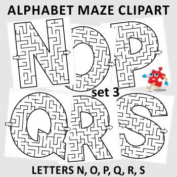 Alphabet Maze Clipart, Letters N, O, P, Q, R, S, Non-Commercial