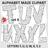 Alphabet Maze Clipart, Letters T, U, V, W, X, Y, Z, Commercial Use Allowed