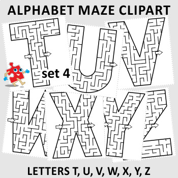 Alphabet Maze Clipart Letters T U V W X Y Z Commercial Use