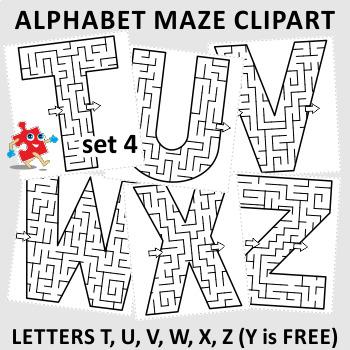 Alphabet Maze Clipart, Letters T, U, V, W, X, Z, Non ...