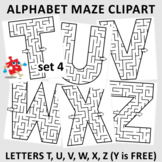 Alphabet Maze Clipart, Letters T, U, V, W, X, Z, Non-Commercial