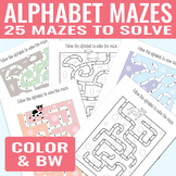 Alphabet Mazes  Alphabet Worksheets for Kids