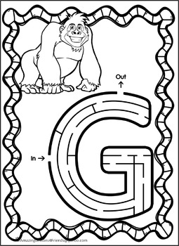 Alphabet Mazes Featuring Animals A thru Z