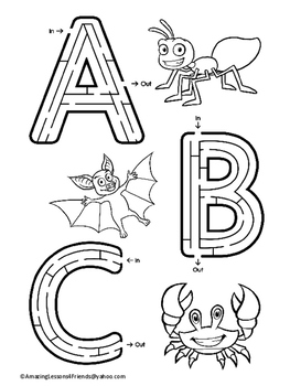 Alphabet Mazes Featuring Animlas